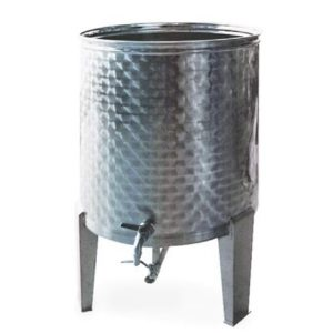 Depósito floreado con fondo cónico, patas y tapa de polvo para aceite INOX 304-mundobodega