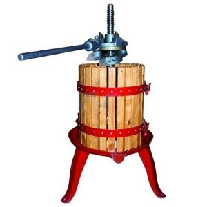 Prensa manual con jaula de madera resistente