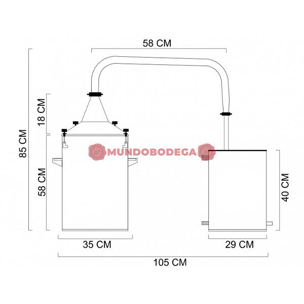 Alambique de acero INOX 30 L-mundobodega-2